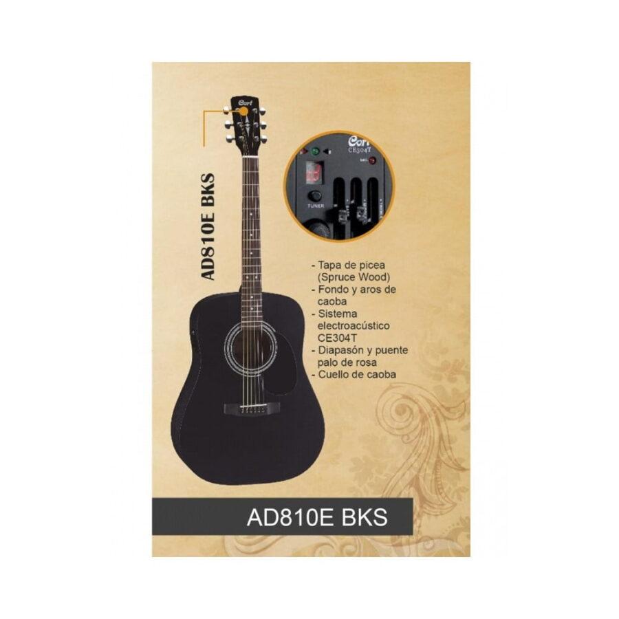 Guitarra Electroacústica cort ad810 bks negra - 4