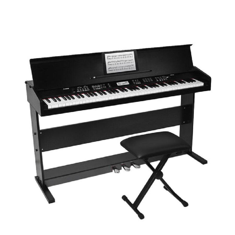 Piano digital de 88 teclas con soporte y banco ajustable-2