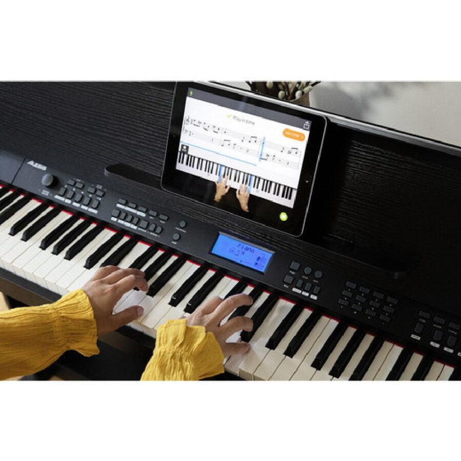 Piano digital de 88 teclas con soporte y banco ajustable-5