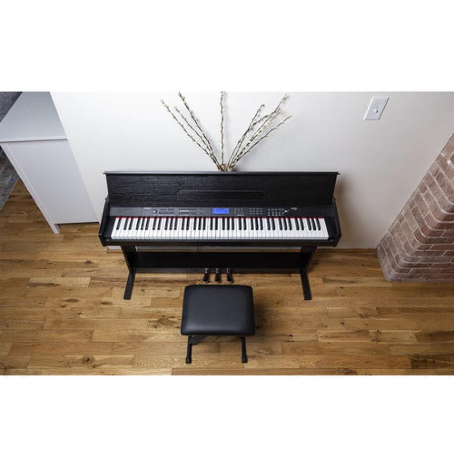 Piano digital de 88 teclas con soporte y banco ajustable-4